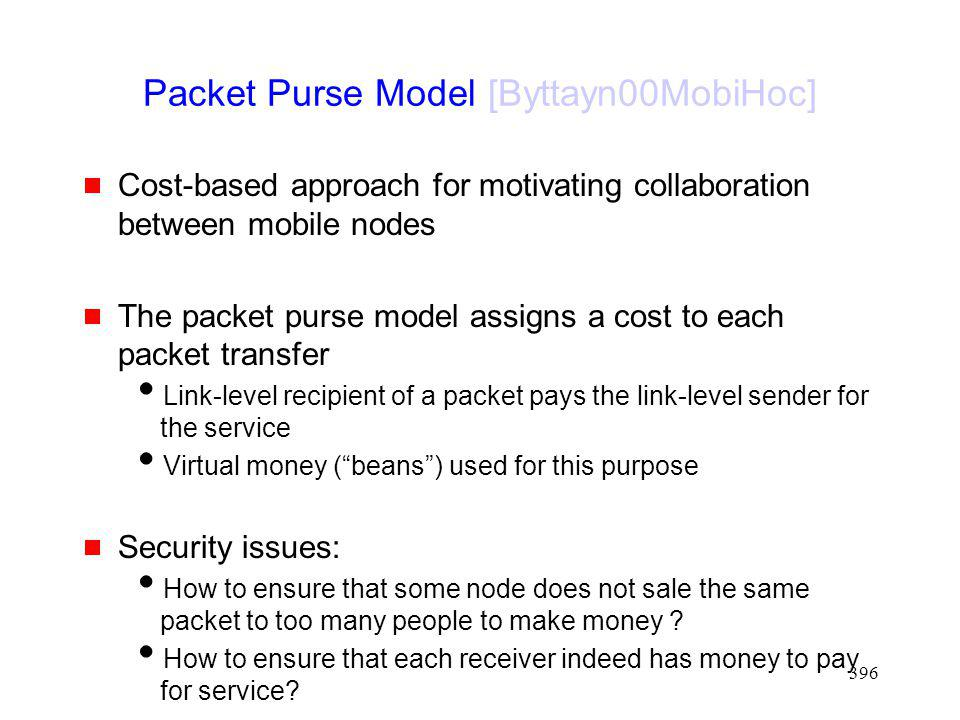 Packet Purse Model [Byttayn00MobiHoc]
